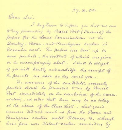 1906 letter to Bombay