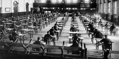 children sitting exams in the past