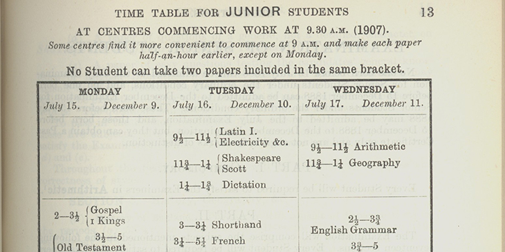 1907 July Juniors Timetable from Cambridge Assessment's Archives