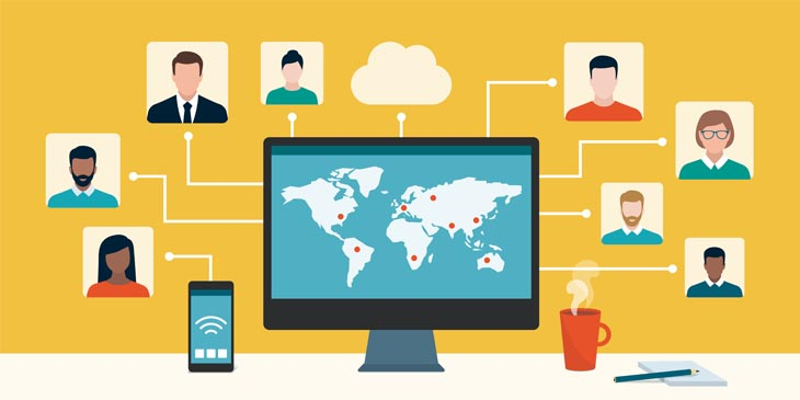 Illustration showing global attendees at a virtual meeting