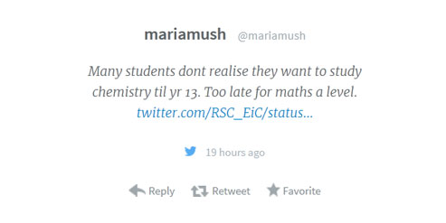 Ellie chemistry maths blog image Students dont realise Maria tweet