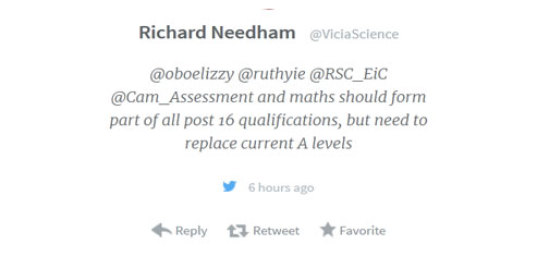 Ellie chemistry maths blog image Richard Needham changes to course content tweet