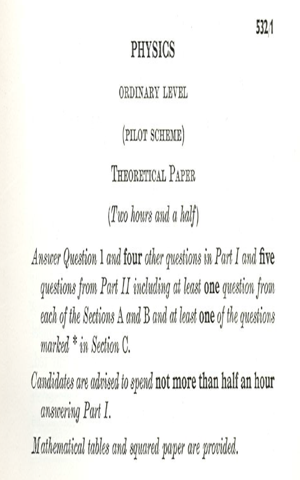 Physics exam paper from 1960s