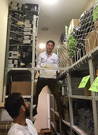 Alex in Anglo-Mexican storeroom