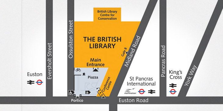 Map showing location of British Library