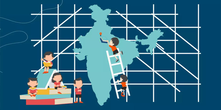 Cartoon of young learners sitting on large texbooks with a map of India in the background