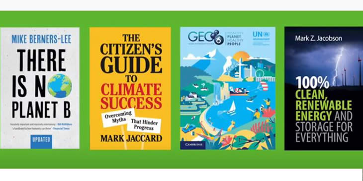 Covers of some of the Cambridge University Press published books on climate change including There is No Planet B and a Citizen's Guide to Climate Success