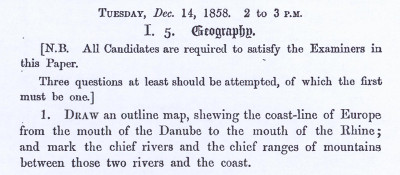 UCLES Junior Certificate December 1858 Geography Question Paper
