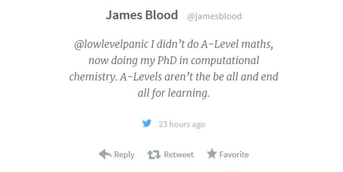 Ellie chemistry maths blog image James Blood didnt do A Level maths tweet