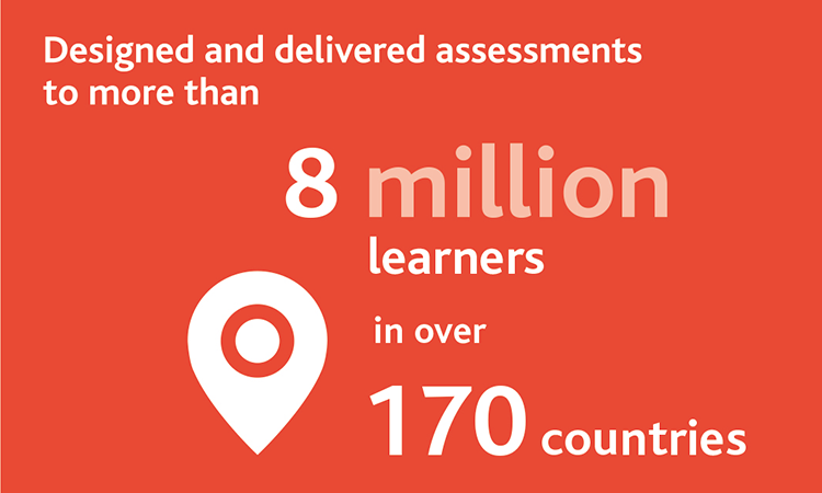 Cambridge Assessment designed and delivered assessments to more than 8 million learners in over 170 countries