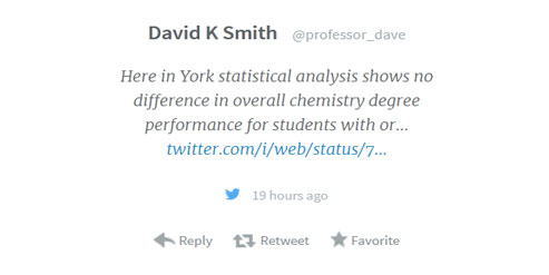 Ellie chemistry maths blog image Not issue in York prof dave tweet