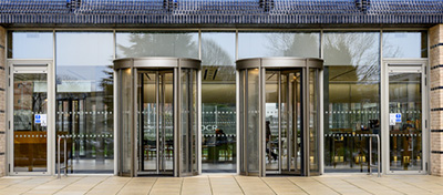 Revolving doors at The Triangle building, Cambridge