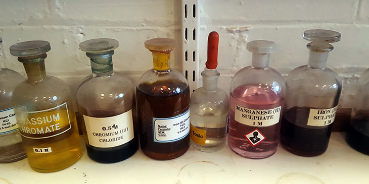 A image of old chemicals in jars